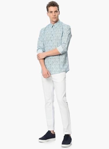 Que Desenli Slim Fit Uzun Kollu Gömlek Mavi